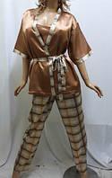 Комплект тройка атласный, штаны майка и пиджак, для дома и сна, Харьков коричневый