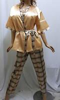 Комплект тройка атласный, штаны майка и пиджак, для дома и сна, Харьков золотой