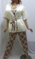 Комплект тройка атласный, штаны майка и пиджак, для дома и сна, Харьков белый