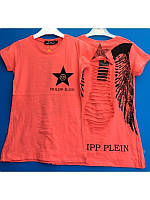 Модная детская футболка с рваной спиной и стразами 7-10 лет