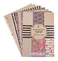 Набір паперу  А4 7 листків дизайнерського  Поділля 16116 крафт
