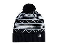 Шапка зимняя двойная Urban Planet С22 BLK черная (теплая шапка, шапка мужская, шапка женская, шапка с бубоном)
