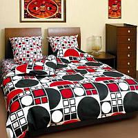 Двуспальное постельное бельё Теп - круг черно-красный