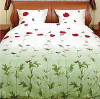 Двуспальное постельное бельё Теп - маки зелёные с бабочками