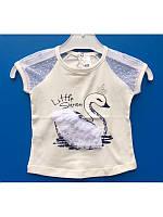 Нарядная белая футболка блузка для девочки 1 год