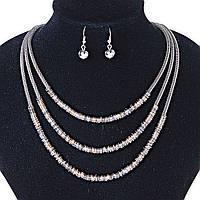 Набор Серьги и Ожерелье и трехрядное , металлические шнуры с тонкими колечками металлик и Gold