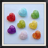 Бусины Crackle Сердце  2 см