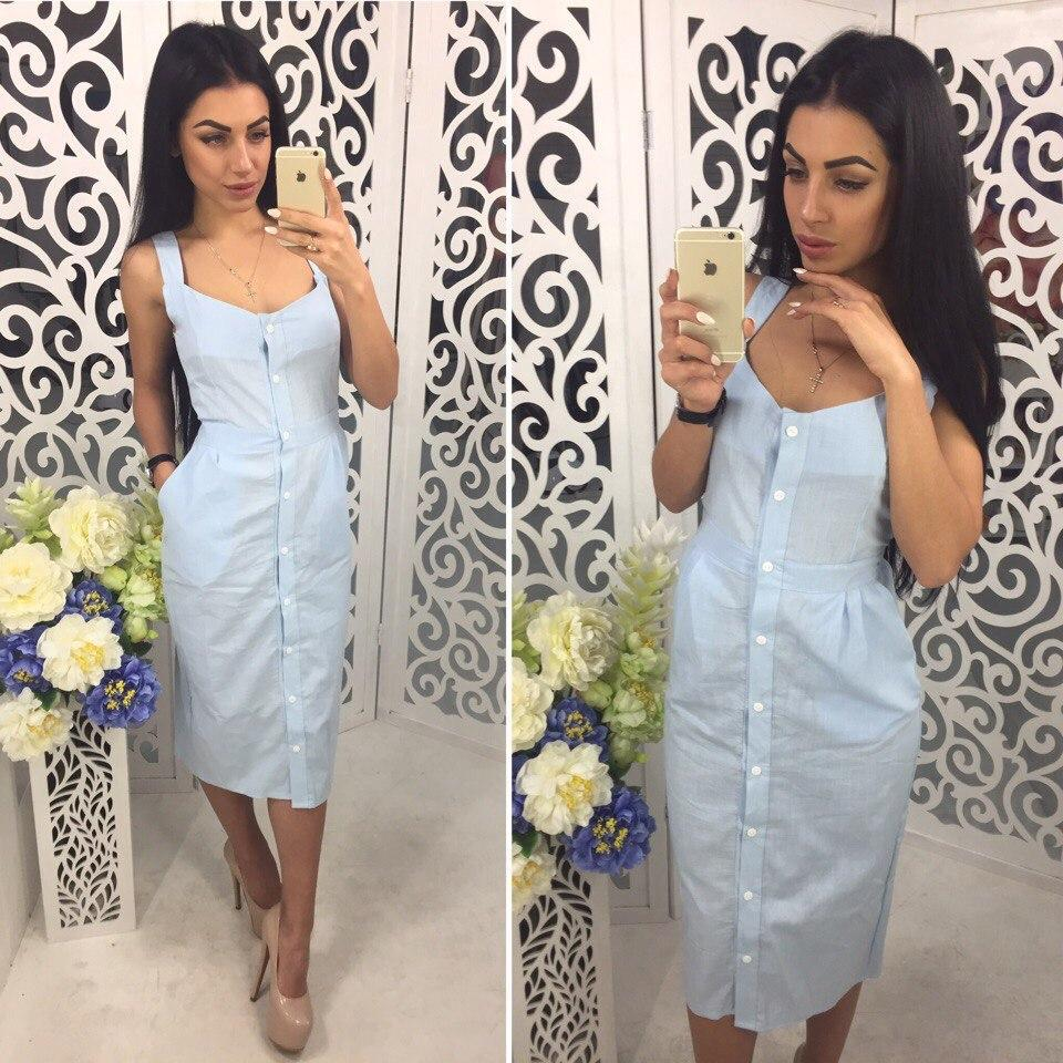 Женское льняное платье на пуговичках, 2 цвета. ОС-5-0617