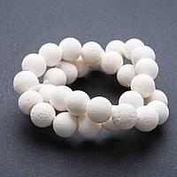 Бусины натуральный камень на нитке Коралл губчатый белый шарик 12 мм 40см