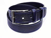 Ремень кожаный широкий  для джинсов Andro синий