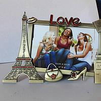 """Металлическая фоторамка """"Я был в Париже"""" оригинальные подарки (21*15 см)"""