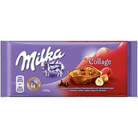 Молочный шоколад Milka Collage со вкусом малины и фундука, 100 гр.