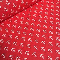 Тань хлопковая с белыми якорями на красном фоне № 621
