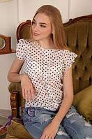 Летняя блузка в горошек белая 016, фото 1