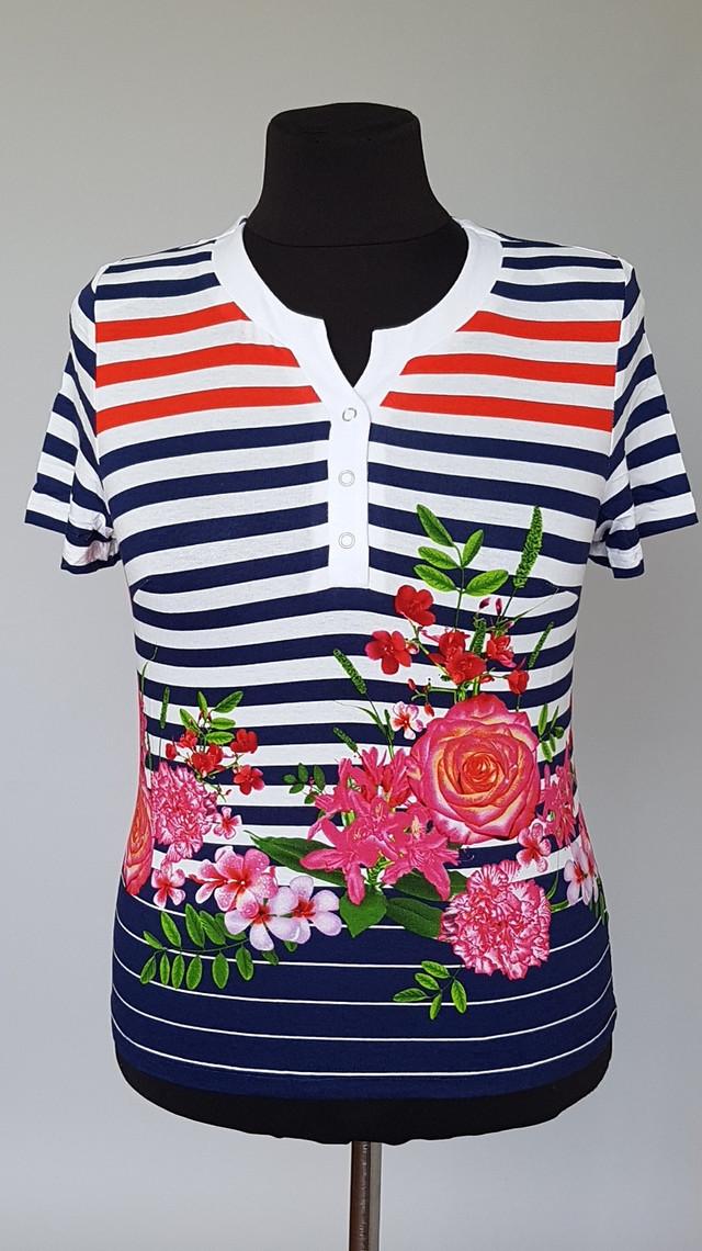фотография женская летняя блузка в полоску с короткими рукавами
