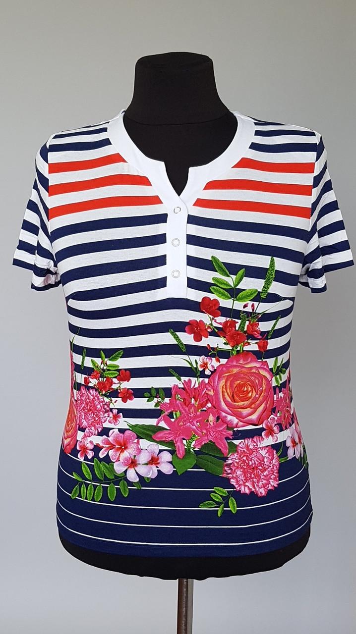 Блуза женская в полоску с коротким и рукавами