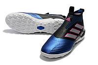 Футбольные сороконожки adidas ACE Tango 17+ Purecontrol TF Core Black/White/Blue