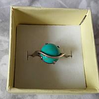 Красивое кольцо с бирюзой в серебре. 18-18,5 размер. Серебро 925проба. Украина.
