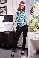 Брючный трикотажный костюм (брюки, топ, футболка) №312