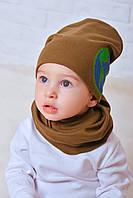 Набор для мальчика шапка и снуд Плэнет хаки