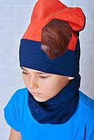 Модный комплект головных уборов Тед терракот-синий