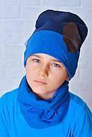Шапка детская с хомутом Тед сине-голубой