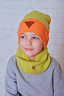 Качественный набор шапка и снуд для мальчика Круз оранжево-салатовый