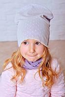 Красивая шапочка и хомут для девочки Жозе лиловый