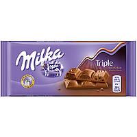 Молочный шоколад Milka Triple Choco Cocoa, 100 гр.