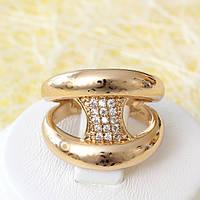 002-2537 - Позолоченное кольцо с прозрачными фианитами, 17 р.