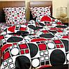 Комплект постельного белья ТЕП семейное Круги черно-красные