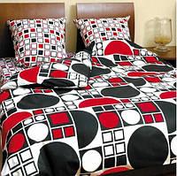 Комплект постельного белья ТЕП семейное Круги черно-красные, фото 1