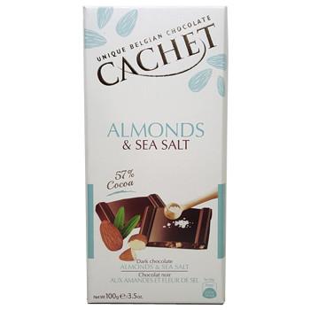 Черный шоколад Cachet «Almonds & Sea Salt», 100г