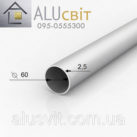 Труба круглая алюминиевая 60х2.5  анодированная серебро, фото 2