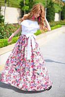 Платье в пол верх - прошва низ - цветочный принт 305 (ВИВ)