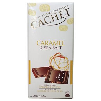 Бельгийский молочный шоколад Premium Cachet Caramel & Sea Salt (карамель и морская соль), 100 гр