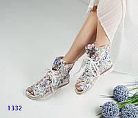Женские летние ботинки с открытым носком на шнуровке, белая абстракция р. 36 37 37 37 38 41
