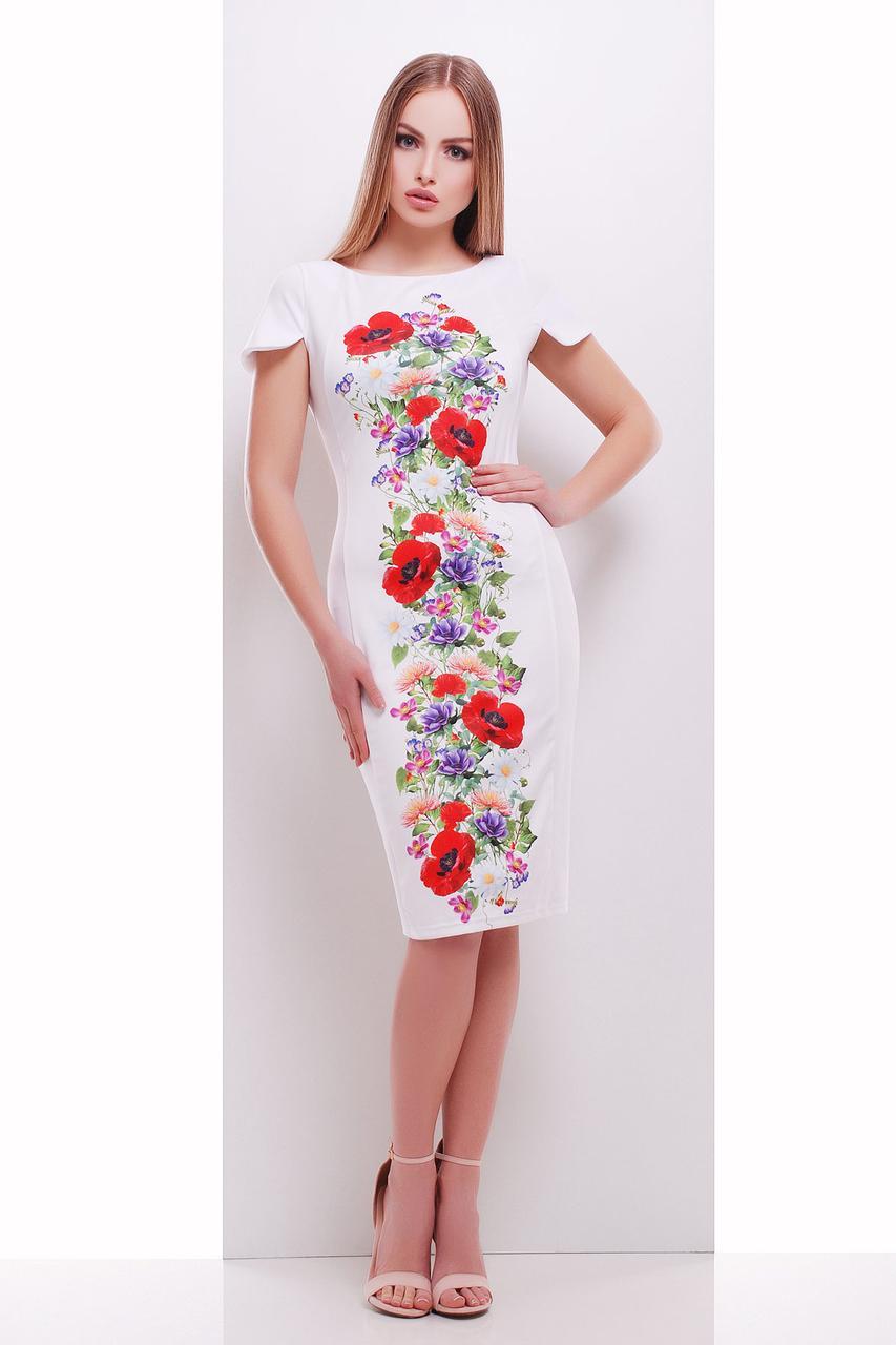 Белое женское платье длины миди с цветочным рисунком