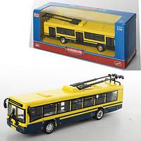 Троллейбус 6407D (96шт) металл, инер-й, 16-4,5-3,5см,1:72, рез.колеса, в кор-ке, 20-8-6см