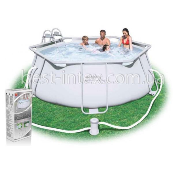 Круглый каркасный бассейн Bestway 56245 (330-102 см.) + Фильтрующий насос