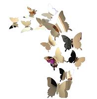Интерьерная настенная наклейка «Бабочки» серебряные зеркальные, 3D бабочки