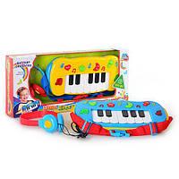 Пианино 60061 (36шт) наушники, муз, свет, 2 цвета, на бат-ке, в кор-ке, 43,5-19-6см