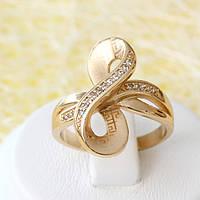 002-2548 - Позолоченное кольцо с прозрачными фианитами, 17 р.