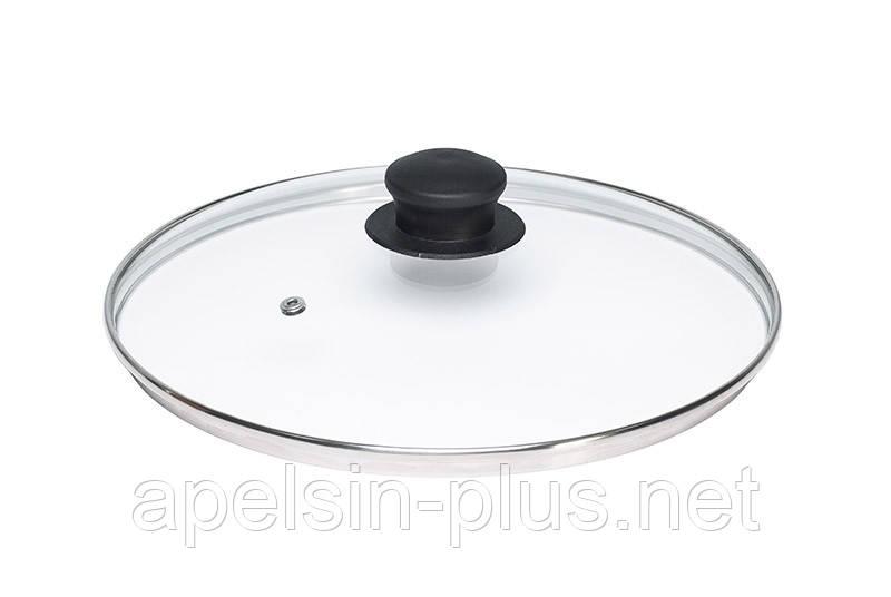 Крышка стеклянная для посуды 34 см с ручкой
