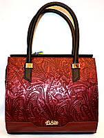 Женская каркасная сумка с узором (бордо)