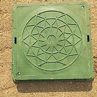 Люк садовый пластиковый зеленый квадратний