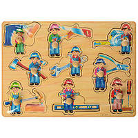 Деревянная игрушка Рамка-вкладыш A03269 (36шт) c ручкой,строй.инструмент, в кульке, 40-29,5-1см