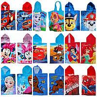 Детское полотенце пончо с мультяшными героями
