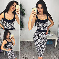 Платье женское летнее миди трикотаж жаккард разные расцветки SMb1496