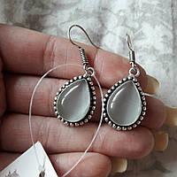 Серьги с кошачим глазом. Красивые серьги с камнем кошачий глаз в серебре. Индия!, фото 1